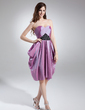 Yüksek Bel Kalp Kesimli Diz Hizası Taffeta Mezunlar Gecesi Elbisesi Ile Büzgü Boncuklama (022015744)