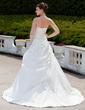 Balo Elbisesi Askısız Şapel Kuyruk Taffeta Gelinlik Ile Büzgü Boncuklama Aplike (002001343)