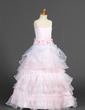 A-Line/Princess Floor-length Flower Girl Dress - Organza/Satin Sleeveless Straps With Ruffles/Sash/Flower(s) (010014655)