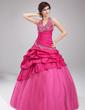 Balo Elbisesi Yular Uzun Etekli Taffeta Tulle Quinceanera (15 Yaş) Elbisesi Ile Nakışlı Büzgü Boncuklama (021002885)