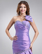 Trumpet/Mermaid One-Shoulder Floor-Length Taffeta Prom Dress With Ruffle Beading Bow(s) (018002456)