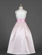 A-Line/Princess Floor-length Flower Girl Dress - Satin Sleeveless Scoop Neck With Sash/Flower(s)/Bow(s) (010016191)