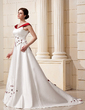 A-Line/Princess Off-the-Shoulder Chapel Train Satin Wedding Dress With Beading Flower(s) (002011760)