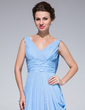A-Line/Princess V-neck Sweep Train Chiffon Mother of the Bride Dress With Ruffle (008033520)