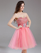 A-Line/Princess Sweetheart Knee-Length Tulle Homecoming Dress With Ruffle Beading Sequins (022009014)