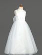 A-Line/Princess Ankle-length Flower Girl Dress - Organza/Satin/Tulle Sleeveless Scoop Neck With Beading/Bow(s)/V Back (010005883)