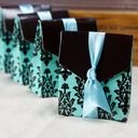 Turquoise And Brown Flourish Favor Boxes With Ribbons (Set of 12)