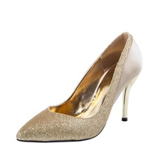 Women's Satin Sparkling Glitter Stiletto Heel Closed Toe Pumps