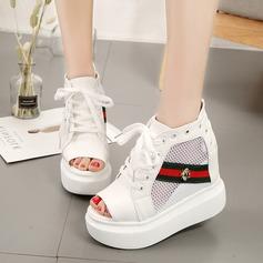 Kvinnor Mesh PU Kilklack Sandaler Pumps Plattform Kilar Peep Toe Boots med Nita Bandage skor