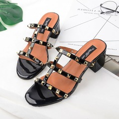 Women's Leatherette Chunky Heel Sandals Peep Toe Slippers With Rivet shoes
