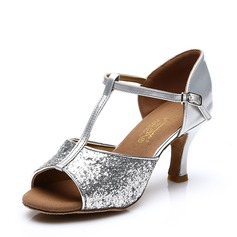 Women's Leatherette Sparkling Glitter Heels Sandals Latin With T-Strap Hollow-out Dance Shoes