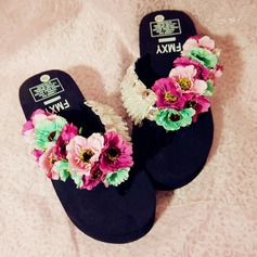 Women's Cloth Flat Heel Platform Flip-Flops Slippers With Imitation Pearl Tassel Flower shoes