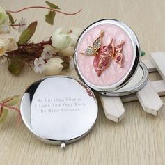 Personlig Sommerfugl Krom Compact Mirror med Diamond Rhinestone
