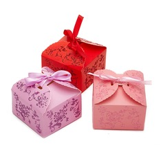 Floral Design Cuboid Favor Boxes (Set of 12)