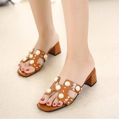 Women's Leatherette Chunky Heel Sandals Peep Toe Slippers With Imitation Pearl shoes