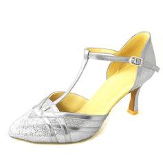 Women's Leatherette Heels Pumps Modern With T-Strap Sequin Dance Shoes