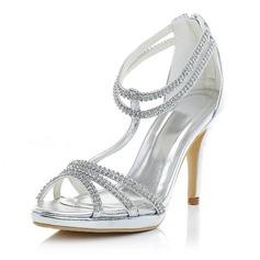 Women's Leatherette Stiletto Heel Pumps Sandals With Rhinestone