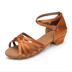 Women's Kids' Satin Sandals Flats Latin With Ankle Strap Dance Shoes