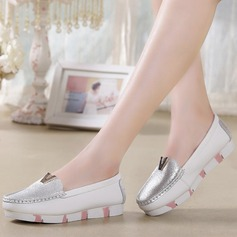 Women's Real Leather Flat Heel Closed Toe Wedges With Sequin Split Joint shoes
