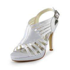 Women's Satin Cone Heel Platform Sandals With Buckle Rhinestone