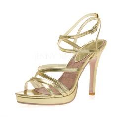 Kadın Suni deri İnce Topuk Sandalet Platform Peep Toe Ile Toka ayakkabı