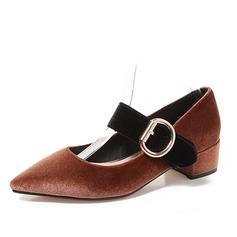 Femmes Velours Talon bottier Mary Jane avec Boucle chaussures