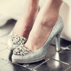 Women's Sparkling Glitter Stiletto Heel Closed Toe Platform Beach Wedding Shoes With Rhinestone