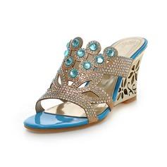 Kadın Suni deri Dolgu Topuk Sandalet Takozlar Peep Toe Ile Yapay elmas ayakkabı
