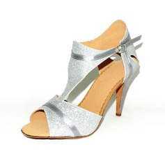 Leatherette Sparkling Glitter Heels Sandals Latin Dance Shoes With T-Strap