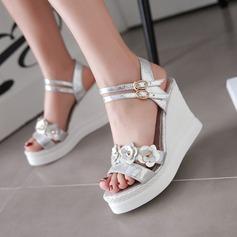 Women's Leatherette Wedge Heel Peep Toe Sandals Slingbacks With Flower