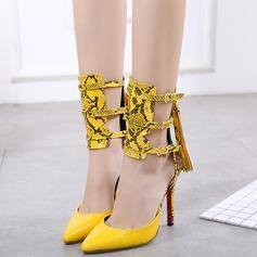 Women's Leatherette Stiletto Heel Sandals Pumps Closed Toe With Zipper Tassel Split Joint shoes