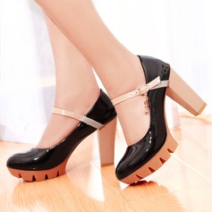 Women's Leatherette Chunky Heel Pumps Platform Closed Toe With Buckle Others shoes