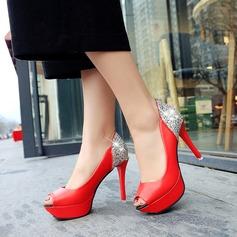 Women's Sparkling Glitter PU Stiletto Heel Pumps Platform Peep Toe With Sparkling Glitter shoes