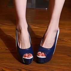 Women's Leatherette Chunky Heel Sandals Platform Peep Toe With Split Joint shoes