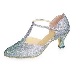 Sparkling Glitter Heels Pumps Modern Ballroom Dance Shoes With T-Strap