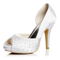 Kvinnor Satäng Stilettklack Peep Toe Plattform Sandaler med Strass