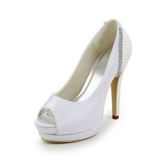 Vrouwen Satijn Stiletto Heel Peep Toe Plateau Sandalen met Bergkristal Gesplitste Stof