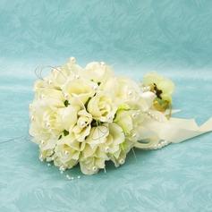 Elegant Round Satin Bridal Bouquets