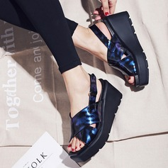 Women's Patent Leather Wedge Heel Sandals Platform Peep Toe shoes