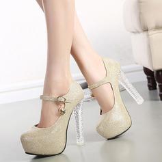 Femmes Similicuir Talon stiletto Mary Jane avec Cristal Talon cristal chaussures