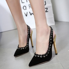 Women's Suede Stiletto Heel Pumps Closed Toe Slingbacks With Rivet shoes