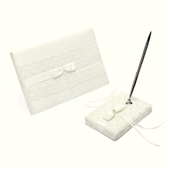 Elegante Strass/Arco/Pizzo Guestbook & Set di penne