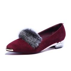 Piel Tacón bajo Planos Cerrados con Piel zapatos