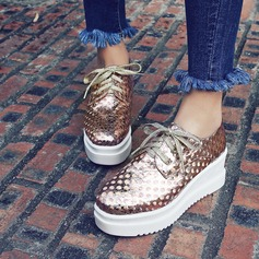 Women's Leatherette Wedge Heel Wedges With Sequin Sparkling Glitter Lace-up shoes