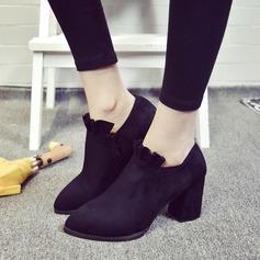 Dla kobiet Zamsz Obcas Slupek Czólenka Kozaki Botki Z Marszczenie Zamek błyskawiczny obuwie