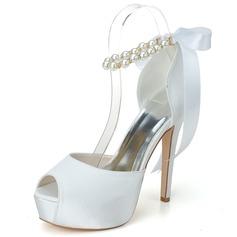Kvinnor Satäng Stilettklack Peep Toe Pumps Sandaler med Oäkta Pearl