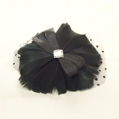 Prachtige Strass/Netto garen/Feather Fascinators