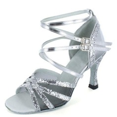 Women's Fabric Sparkling Glitter Patent Leather Heels Sandals Latin Salsa With Ankle Strap Dance Shoes
