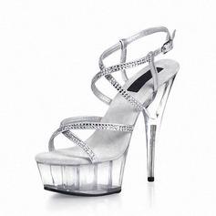 Konstläder Stilettklack Sandaler Pumps Plattform Peep Toe Slingbacks med Strass Spänne Kristall Heel skor