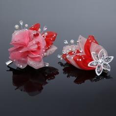 Fancy Artificial Silk Flowers & Feathers (Set of 2)